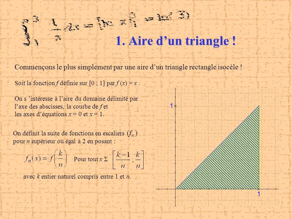 1. Aire d'un triangle ! Commençons le plus simplement par une aire d'un triangle rectangle isocèle !