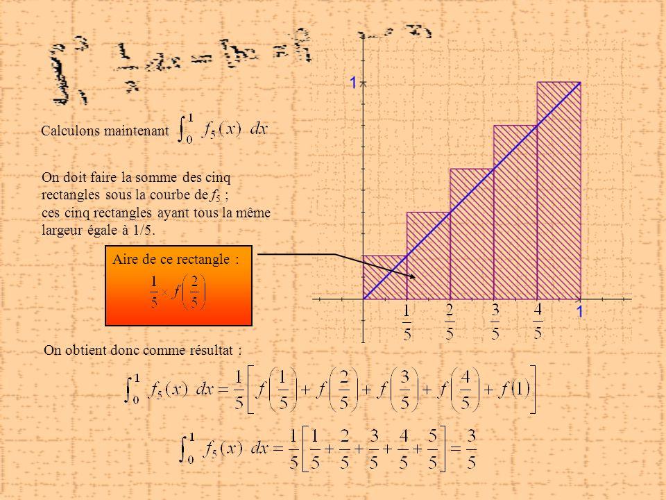 Calculons maintenant On doit faire la somme des cinq rectangles sous la courbe de f5 ; ces cinq rectangles ayant tous la même.