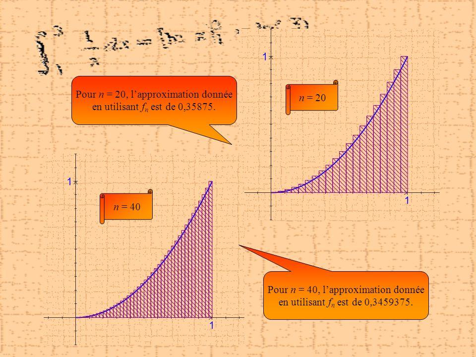 Pour n = 20, l'approximation donnée en utilisant fn est de 0,35875.