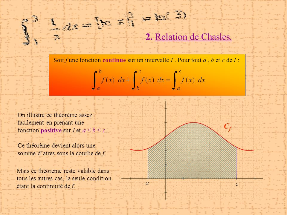 2. Relation de Chasles. Cf Cf