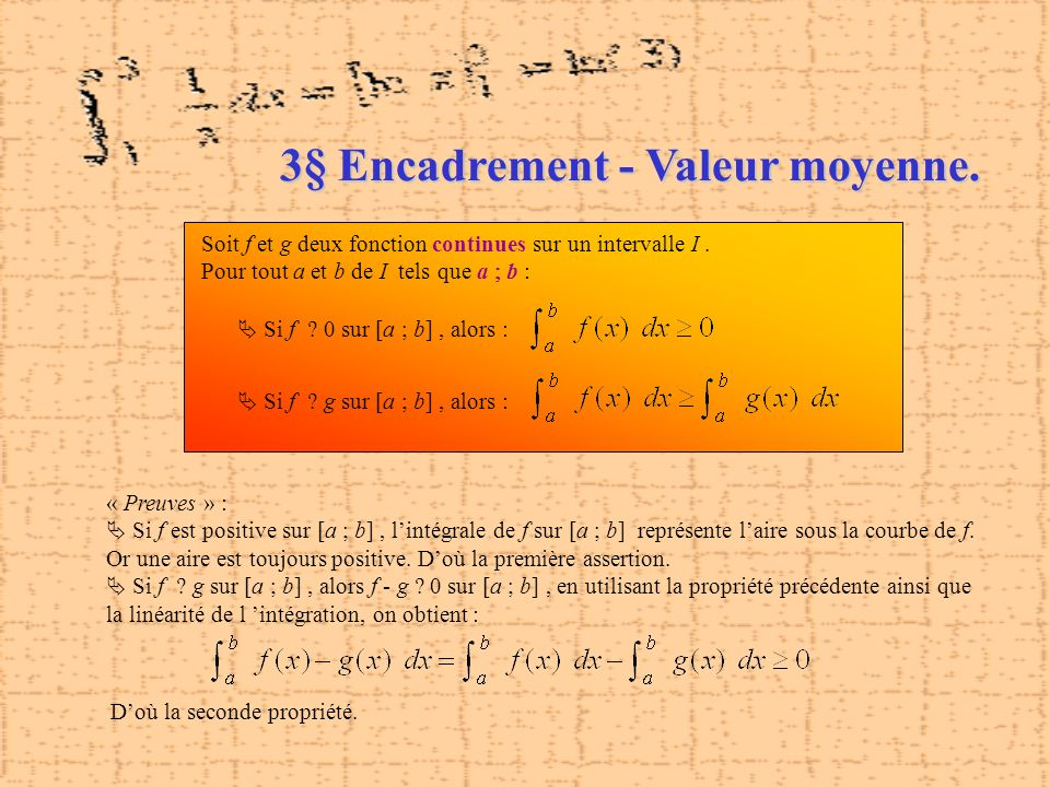 3§ Encadrement - Valeur moyenne.