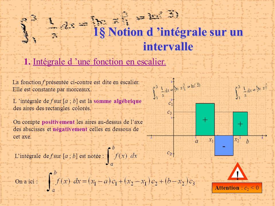 1§ Notion d 'intégrale sur un intervalle