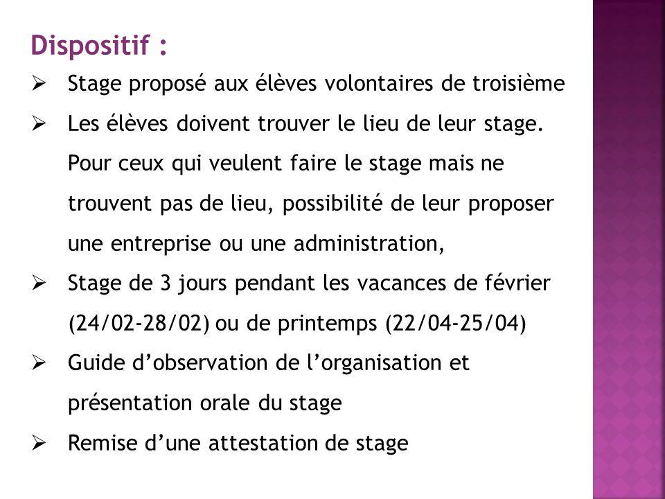 Dispositif : Stage proposé aux élèves volontaires de troisième