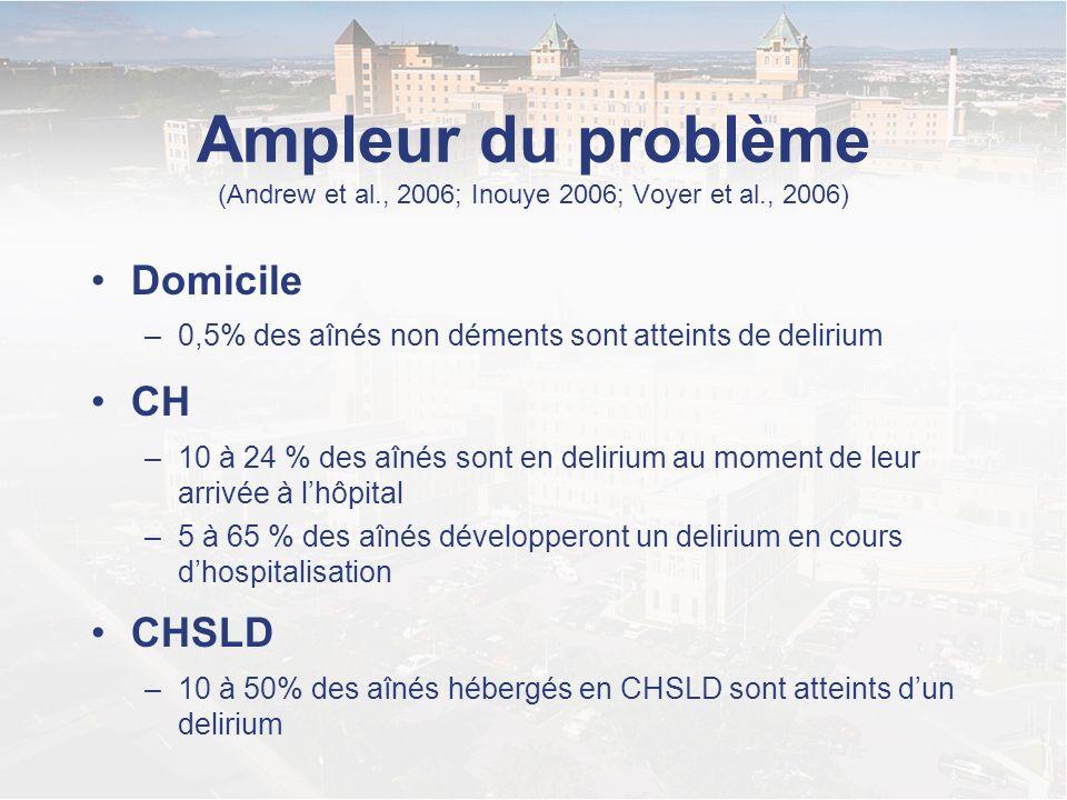 Ampleur du problème (Andrew et al. , 2006; Inouye 2006; Voyer et al