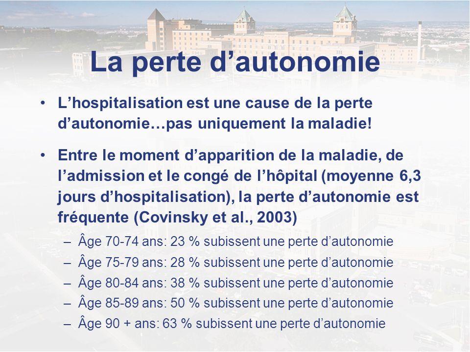 La perte d'autonomie L'hospitalisation est une cause de la perte d'autonomie…pas uniquement la maladie!