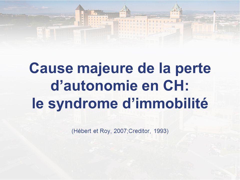 Cause majeure de la perte d'autonomie en CH: le syndrome d'immobilité