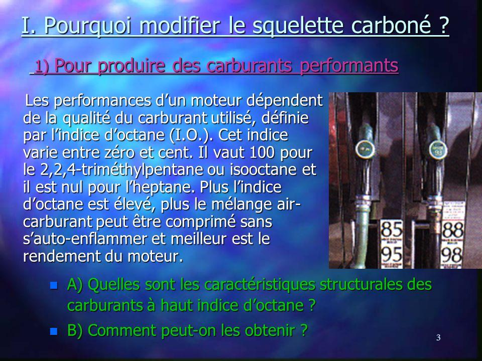 I. Pourquoi modifier le squelette carboné