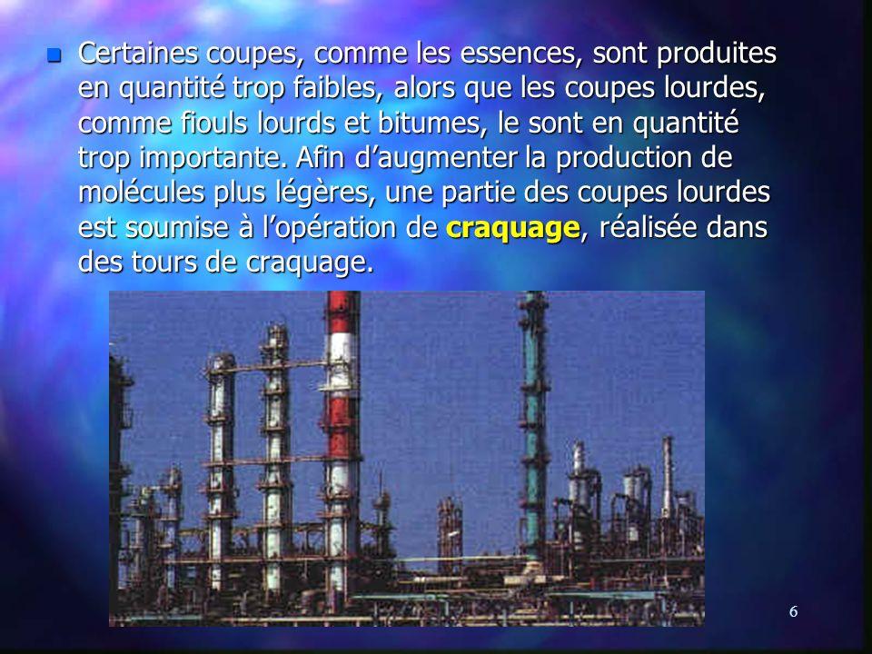 Certaines coupes, comme les essences, sont produites en quantité trop faibles, alors que les coupes lourdes, comme fiouls lourds et bitumes, le sont en quantité trop importante.