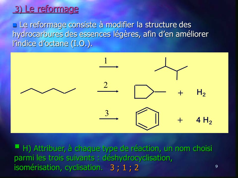 3) Le reformage Le reformage consiste à modifier la structure des hydrocarbures des essences légères, afin d'en améliorer l'indice d'octane (I.O.).