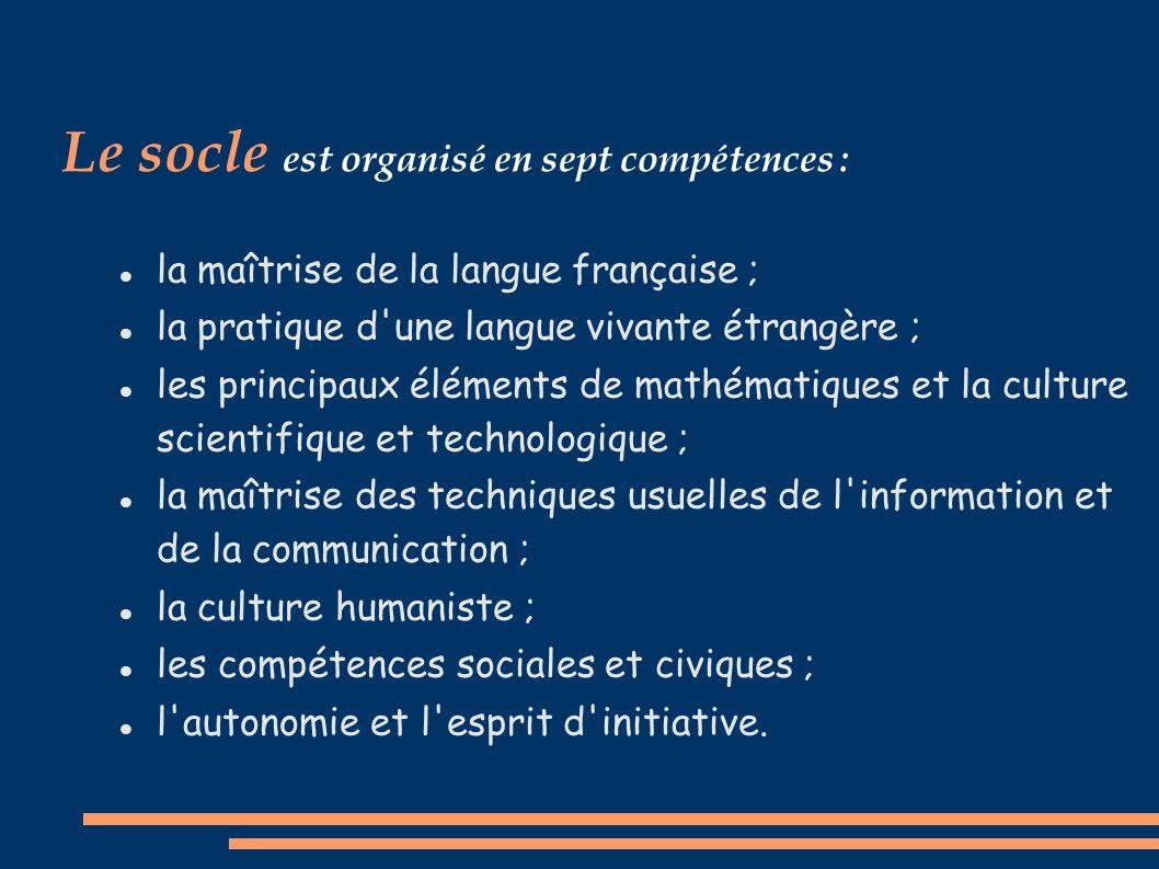 Le socle est organisé en sept compétences :