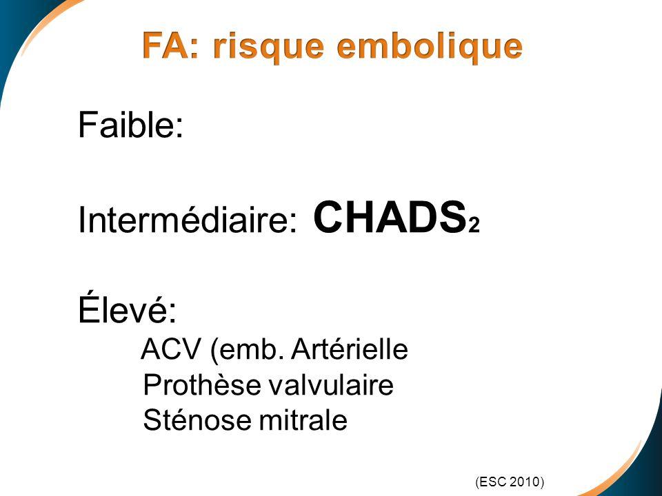 FA: risque embolique Faible: Intermédiaire: CHADS2 Élevé: