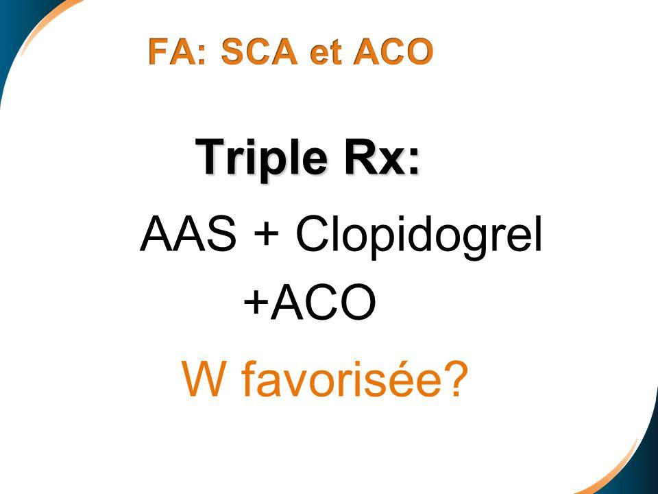Triple Rx: AAS + Clopidogrel +ACO W favorisée