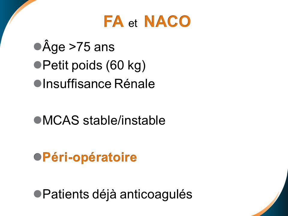 FA et NACO Âge >75 ans Petit poids (60 kg) Insuffisance Rénale