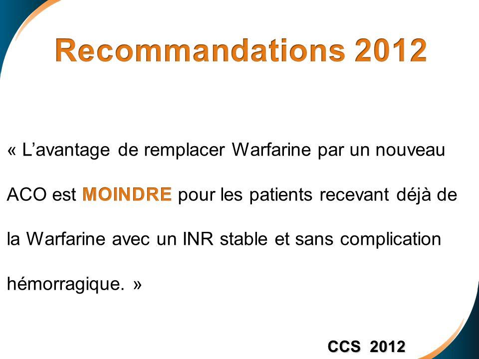 Recommandations 2012 « L'avantage de remplacer Warfarine par un nouveau. ACO est MOINDRE pour les patients recevant déjà de.
