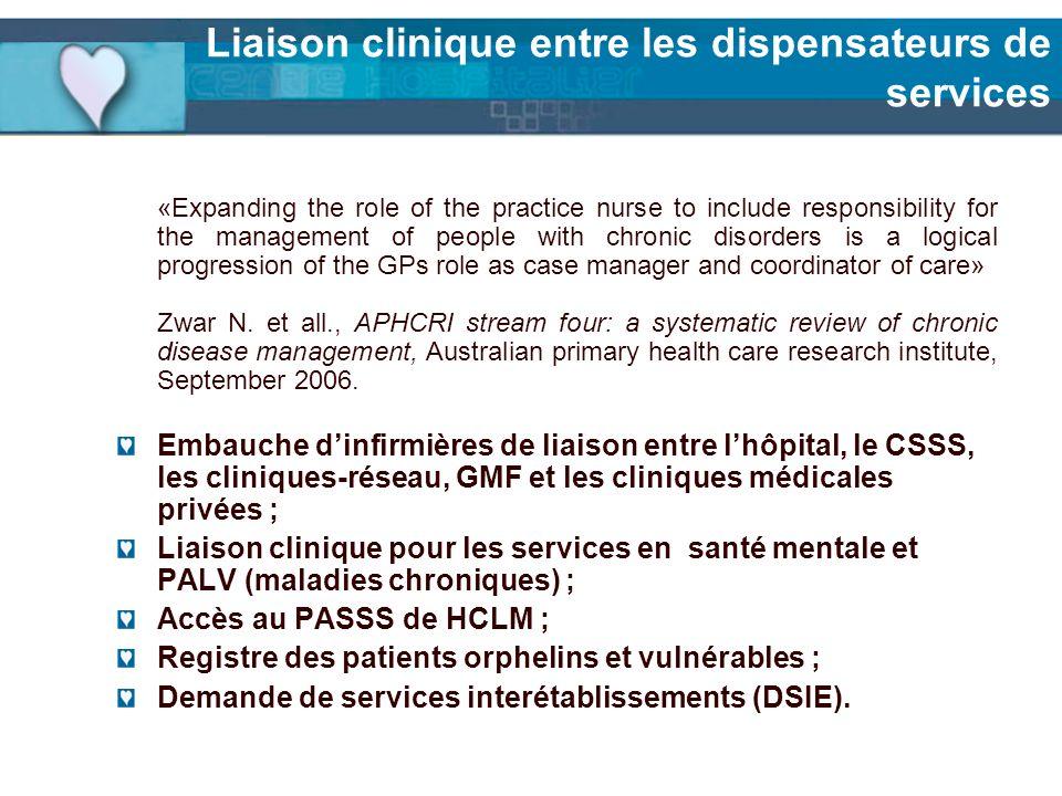 Liaison clinique entre les dispensateurs de services