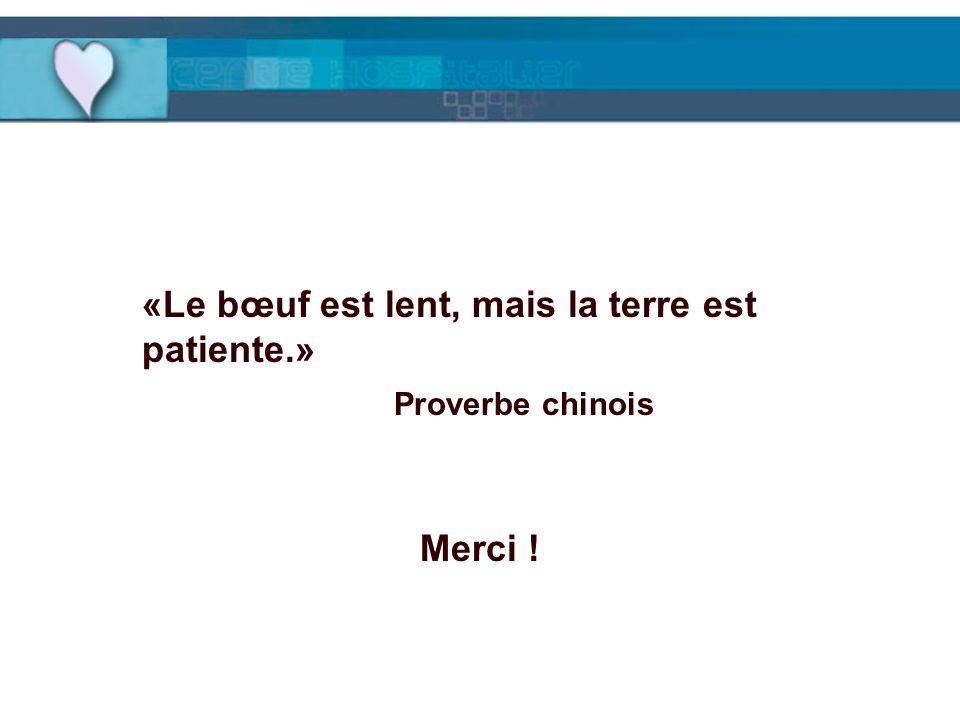 «Le bœuf est lent, mais la terre est patiente.» Proverbe chinois