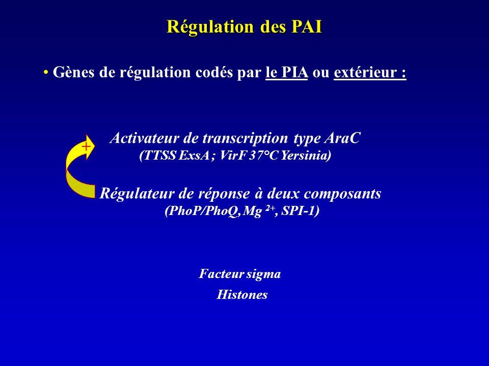 Régulation des PAI Gènes de régulation codés par le PIA ou extérieur :