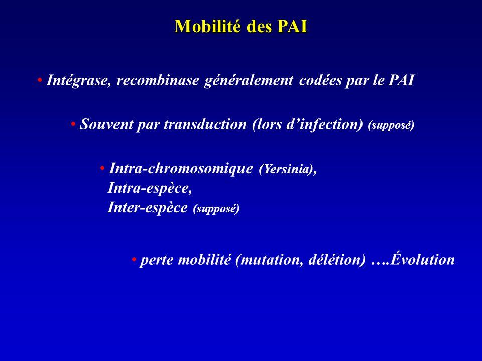 Mobilité des PAI Intégrase, recombinase généralement codées par le PAI