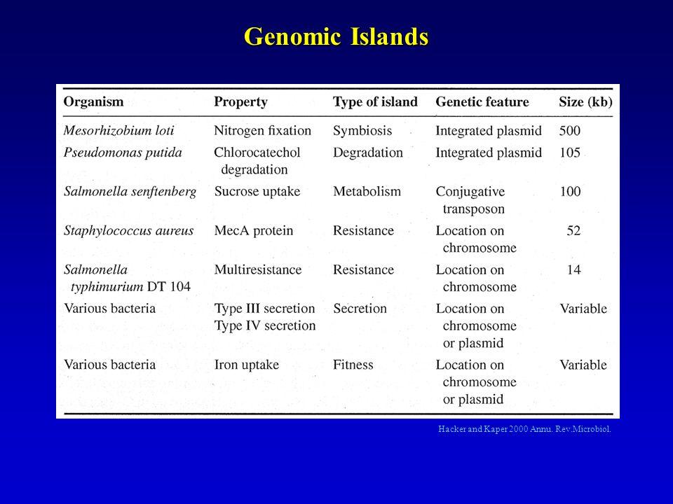 Genomic Islands Hacker and Kaper 2000 Annu. Rev.Microbiol.