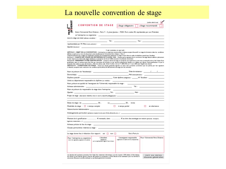 La nouvelle convention de stage