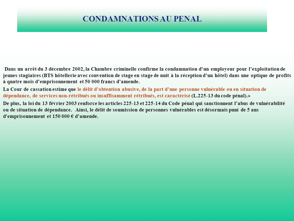 CONDAMNATIONS AU PENAL
