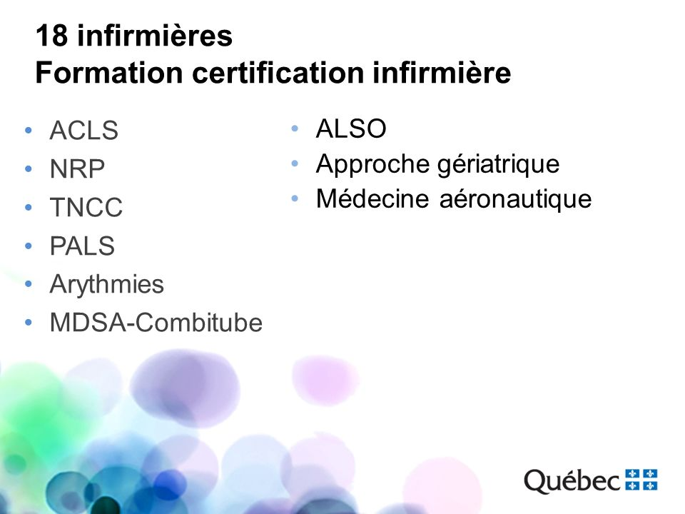 18 infirmières Formation certification infirmière