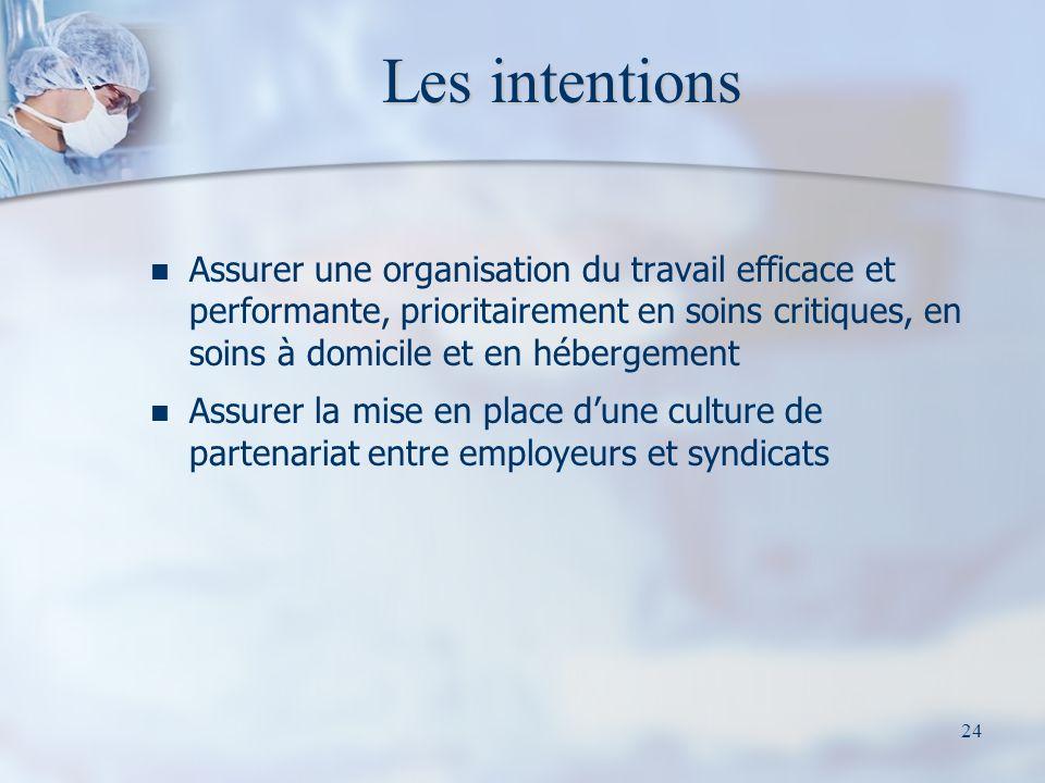 Les intentions Assurer une organisation du travail efficace et performante, prioritairement en soins critiques, en soins à domicile et en hébergement.