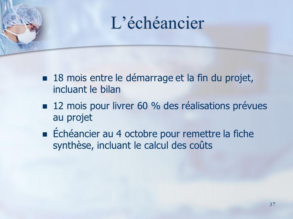 L'échéancier 18 mois entre le démarrage et la fin du projet, incluant le bilan. 12 mois pour livrer 60 % des réalisations prévues au projet.