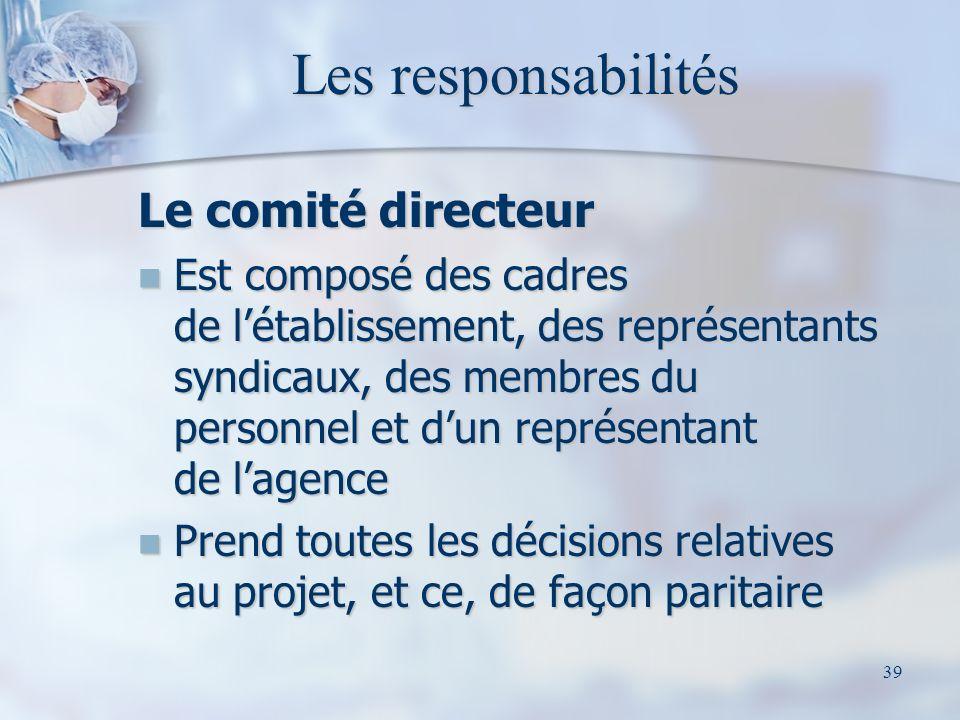 Les responsabilités Le comité directeur