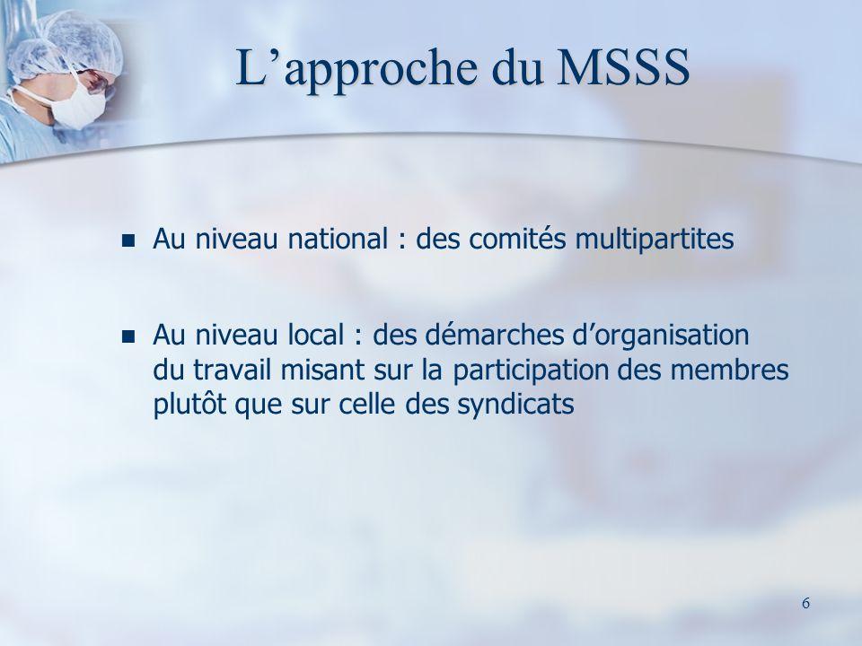 L'approche du MSSS Au niveau national : des comités multipartites