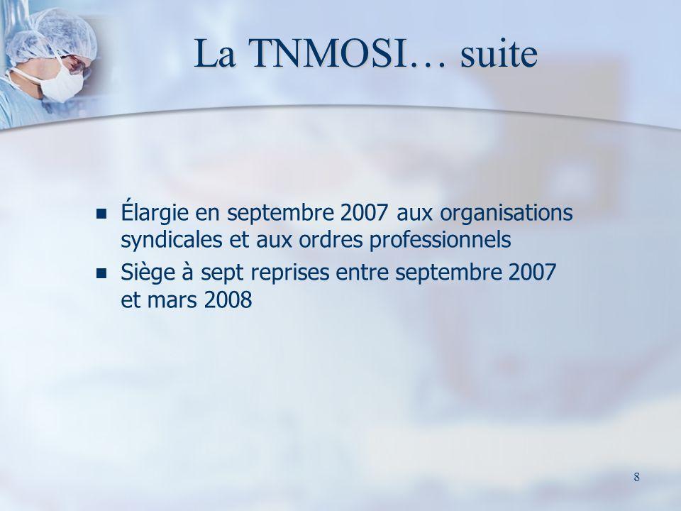 La TNMOSI… suite Élargie en septembre 2007 aux organisations syndicales et aux ordres professionnels.