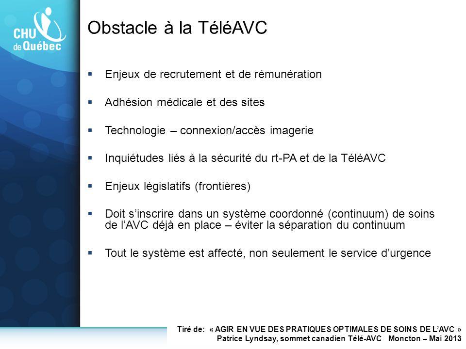 Obstacle à la TéléAVC Enjeux de recrutement et de rémunération