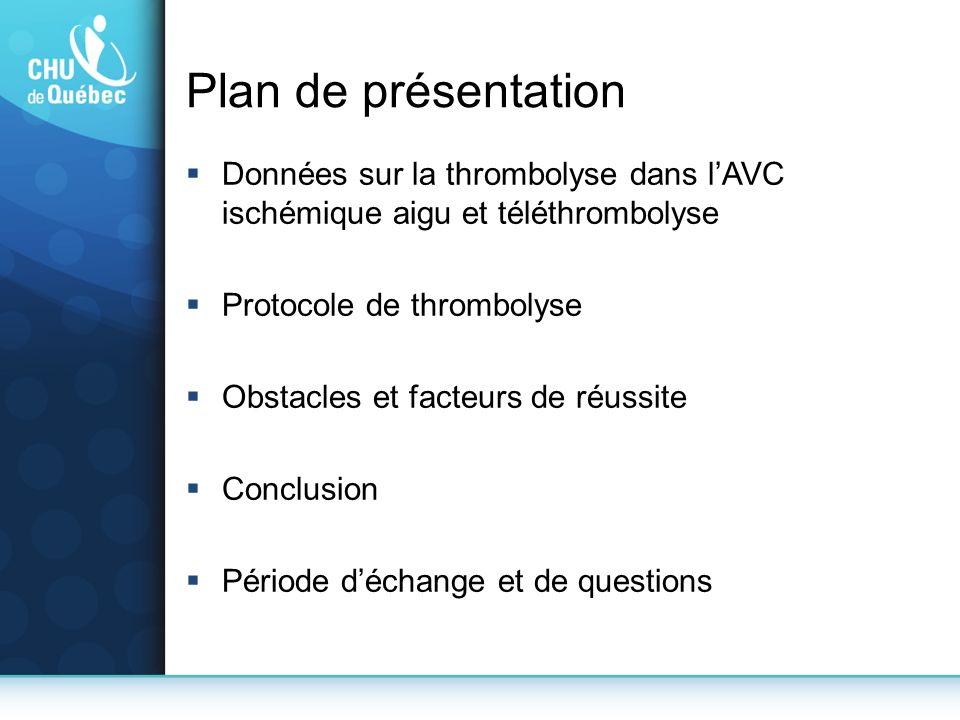 Plan de présentation Données sur la thrombolyse dans l'AVC ischémique aigu et téléthrombolyse. Protocole de thrombolyse.