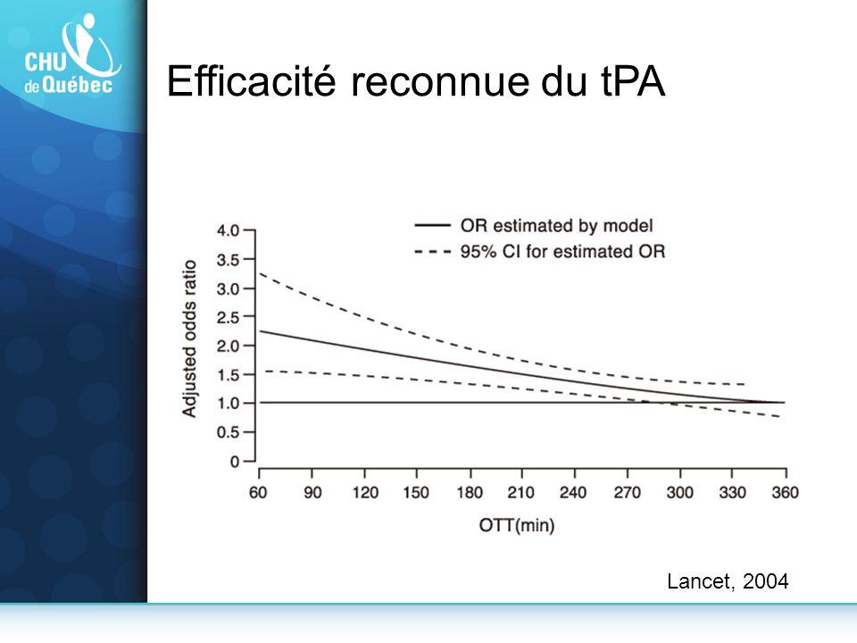Efficacité reconnue du tPA
