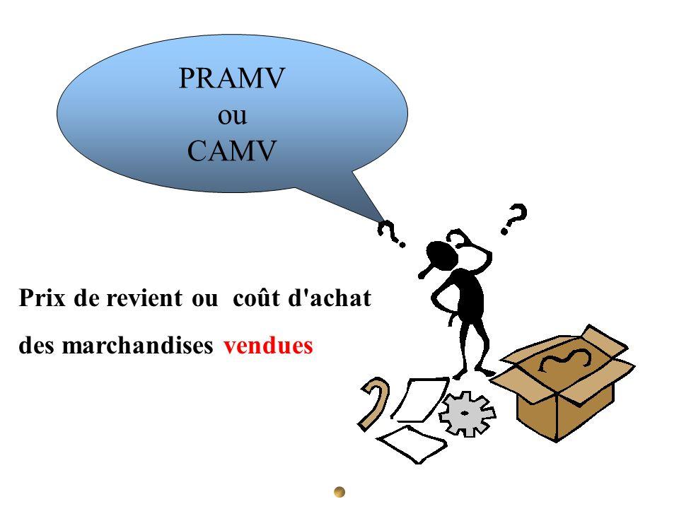 PRAMV ou CAMV Prix de revient ou coût d achat des marchandises vendues