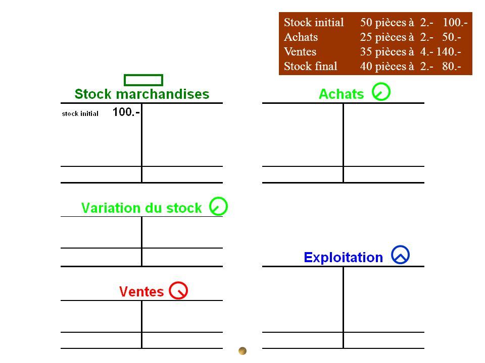 Stock initial 50 pièces à 2.- 100.-