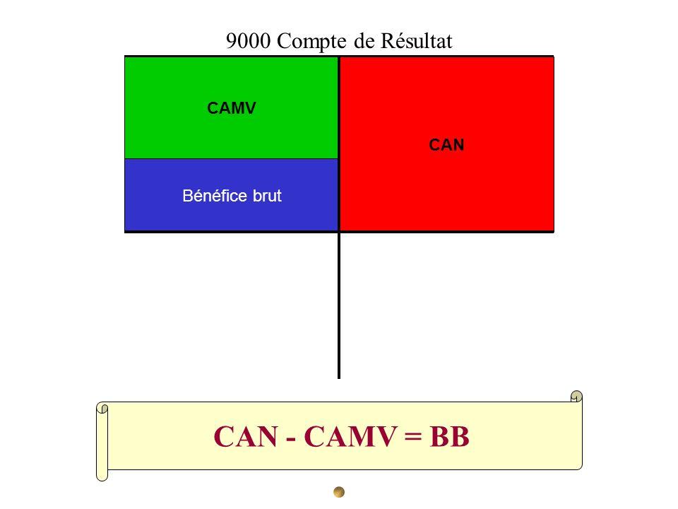9000 Compte de Résultat CAMV CAN Bénéfice brut CAN - CAMV = BB