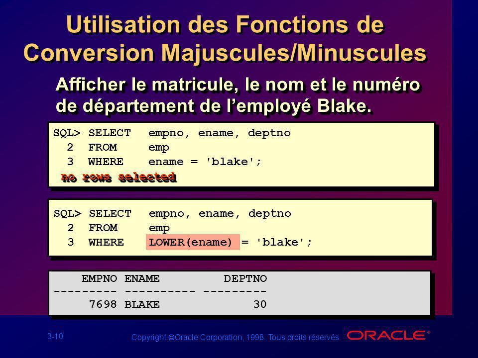 Utilisation des Fonctions de Conversion Majuscules/Minuscules