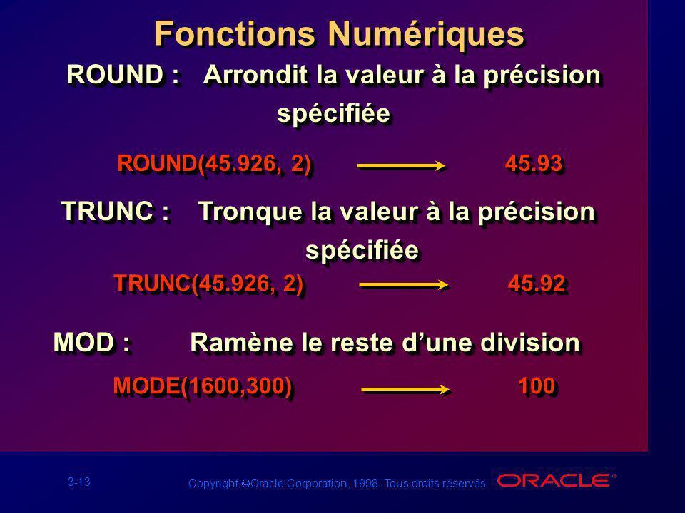 Fonctions Numériques ROUND : Arrondit la valeur à la précision spécifiée. ROUND(45.926, 2) 45.93.