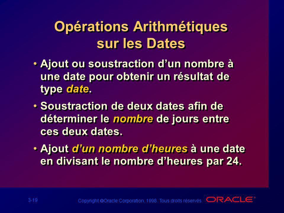Opérations Arithmétiques sur les Dates