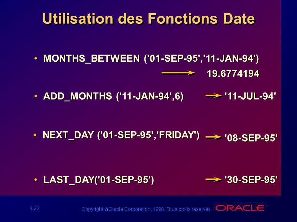 Utilisation des Fonctions Date
