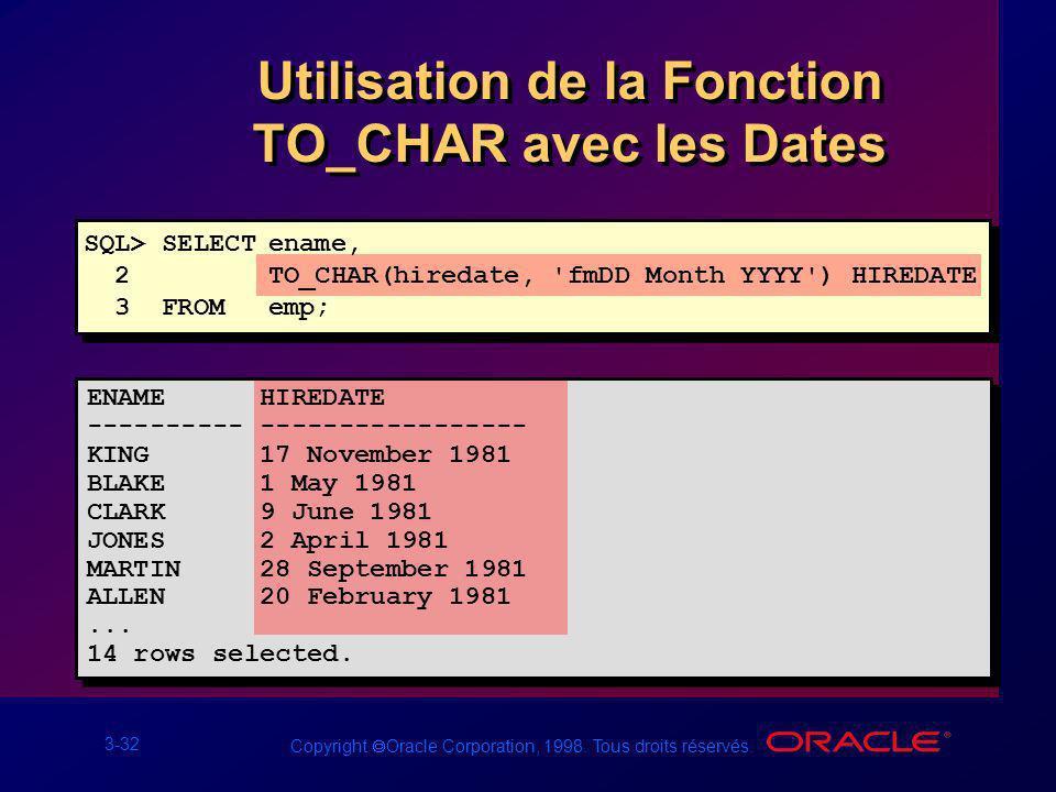 Utilisation de la Fonction TO_CHAR avec les Dates