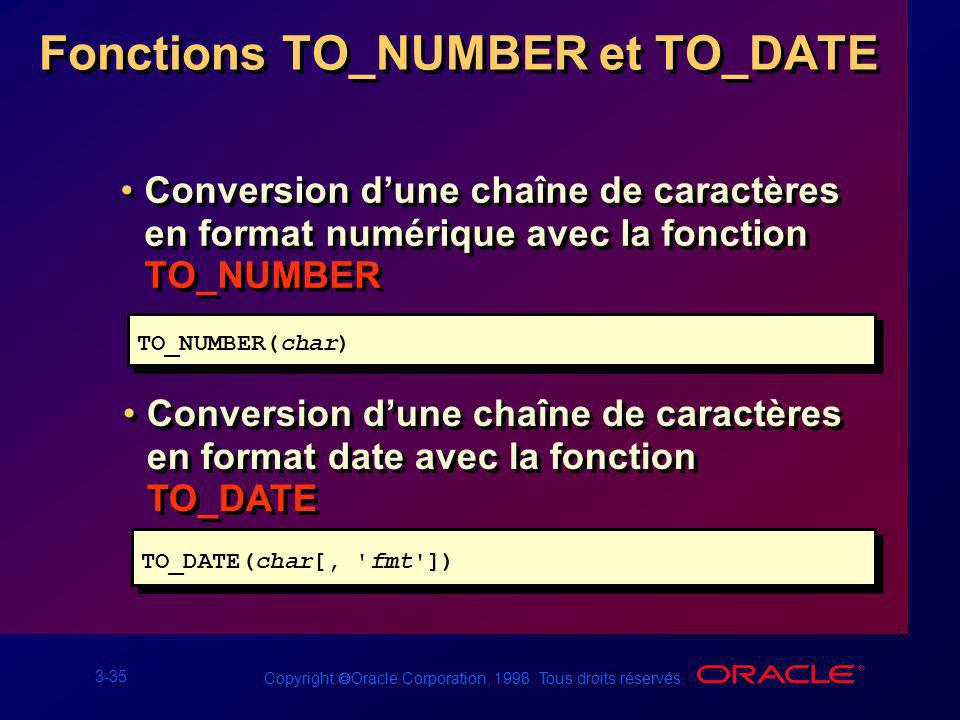 Fonctions TO_NUMBER et TO_DATE