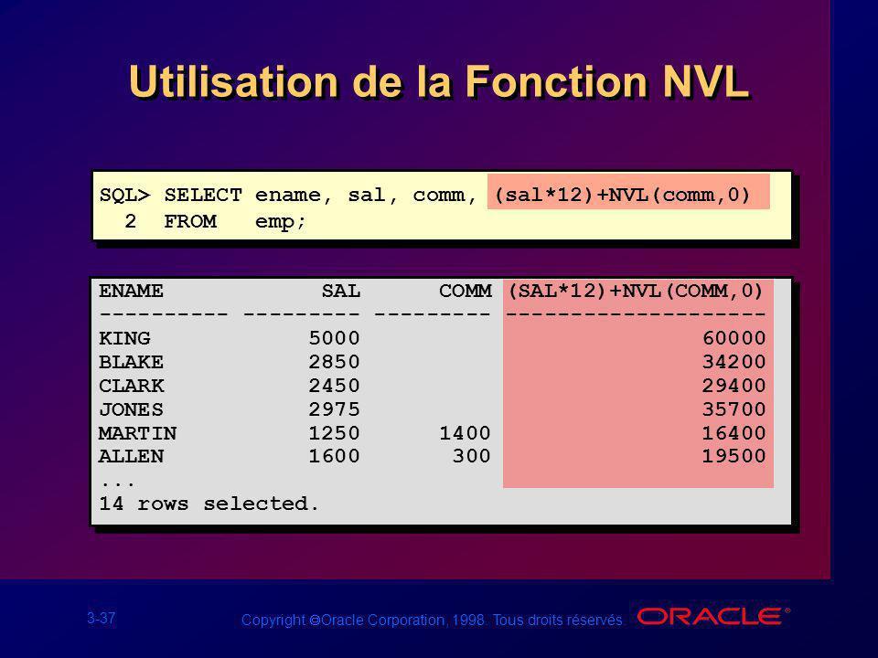 Utilisation de la Fonction NVL