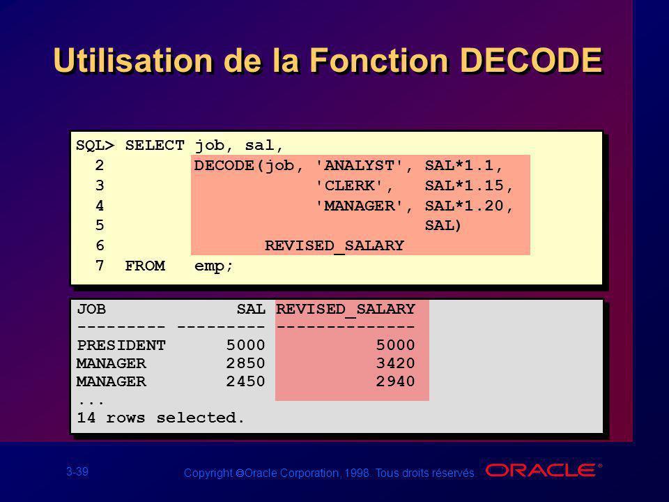 Utilisation de la Fonction DECODE
