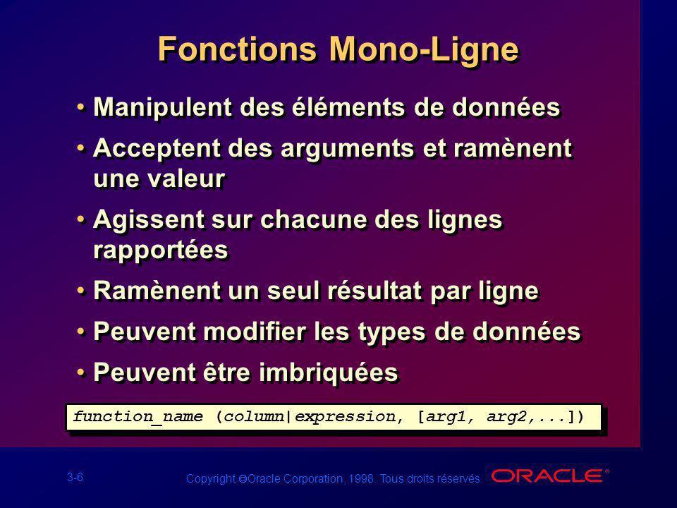 Fonctions Mono-Ligne Manipulent des éléments de données