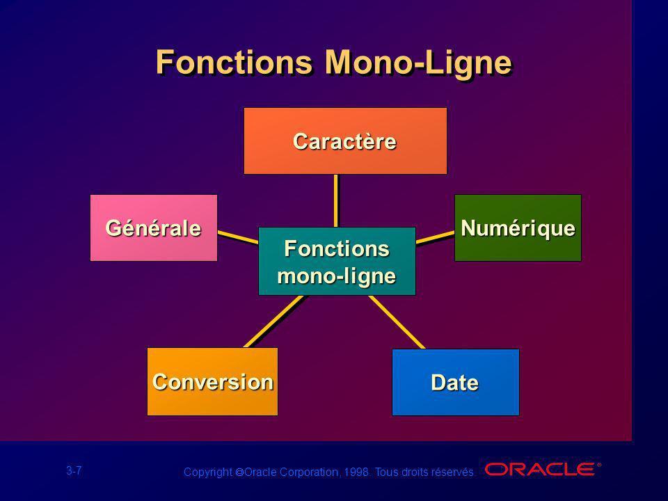 Fonctions Mono-Ligne Caractère Générale Numérique Fonctions mono-ligne