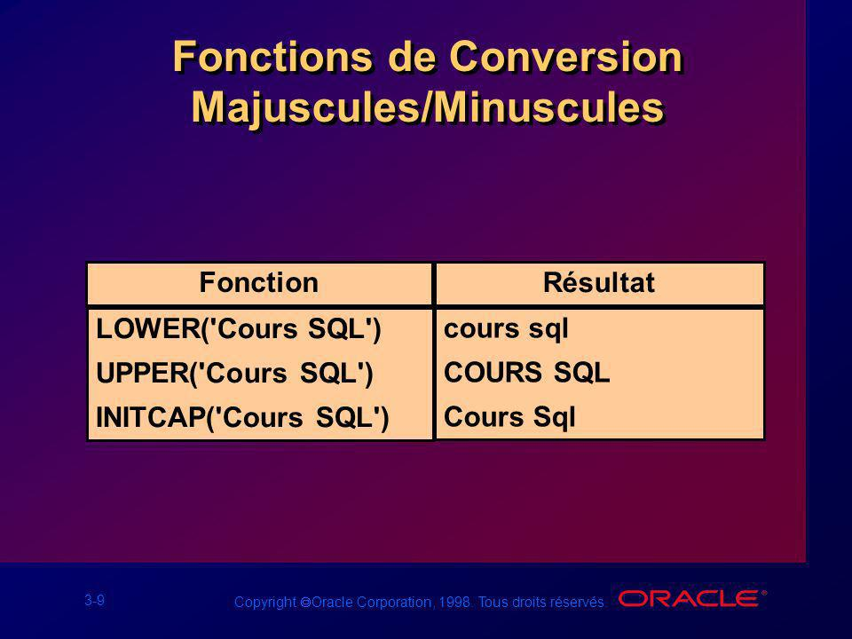 Fonctions de Conversion Majuscules/Minuscules