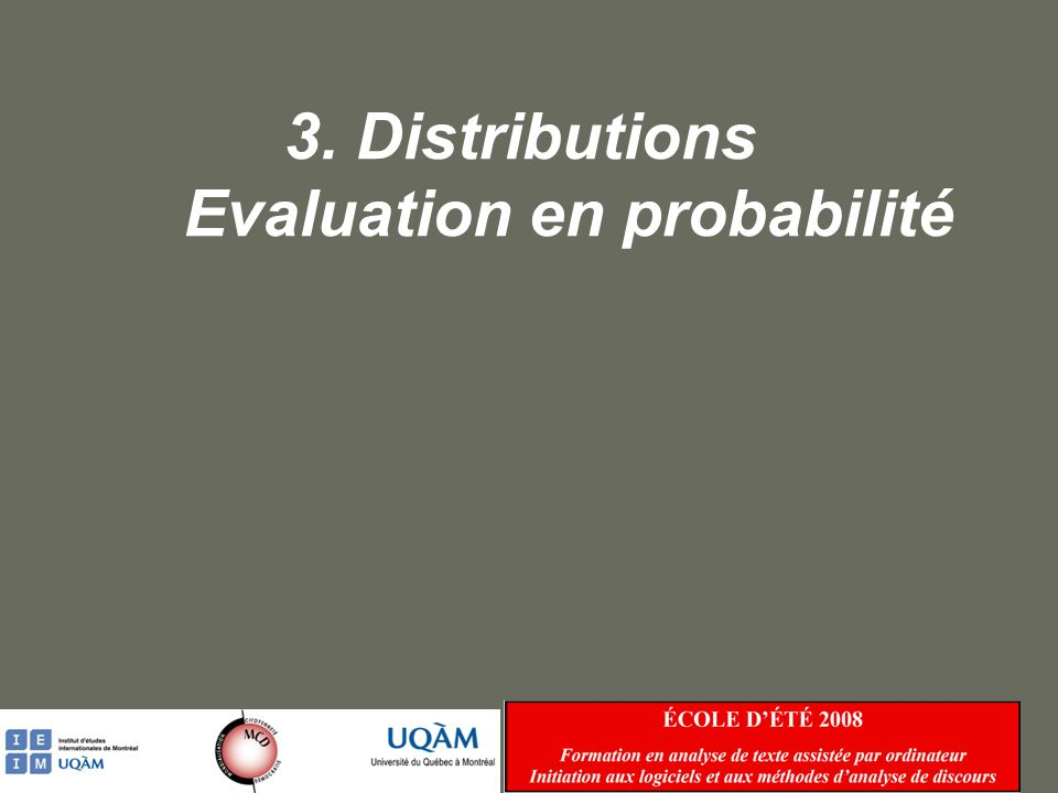 3. Distributions Evaluation en probabilité