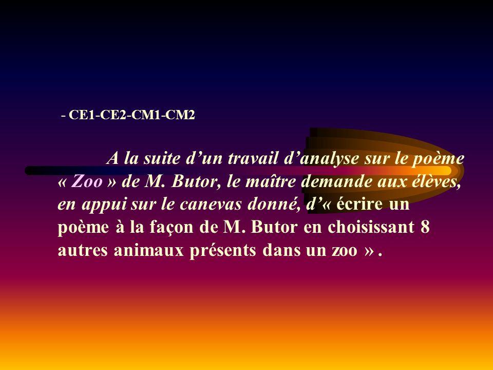 - CE1-CE2-CM1-CM2 A la suite d'un travail d'analyse sur le poème « Zoo » de M.